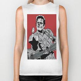 Johnny Cash Zombie Portrait Giving the Finger Print Biker Tank
