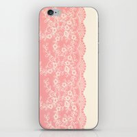 aelwen iPhone & iPod Skins featuring Lace #CoralPink by Armine Nersisian