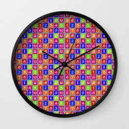 Numbers and Vowels Colorful Pattern Wall Clock