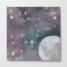 Cosmic Blue and Purple Sky with Moon  Metal Print