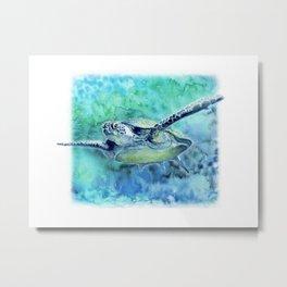 Swimming Turtle In Watercolor Metal Print