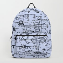 F-18 Blueprints // Light Blue Backpack