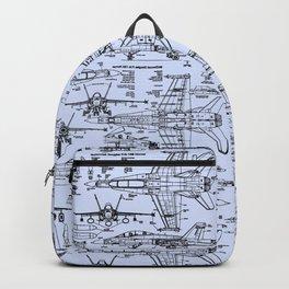 F-18 Blueprints // Light Blue Backpack