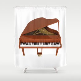 Grand Piano with Wood Finish Shower Curtain