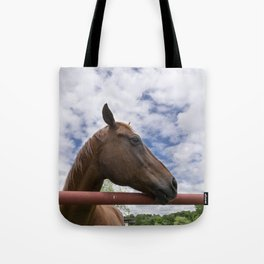 Profile of Brown Horse Looking over Fence with Clouds Tote Bag