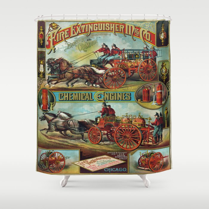 Vintage Firefighter Fire Engine Scene Shower Curtain
