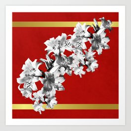 Lilies, Lily Flowers on Red Art Print