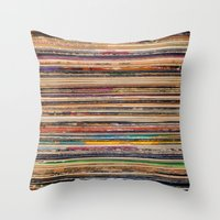 vinyl Throw Pillows featuring Vinyl by elle moss