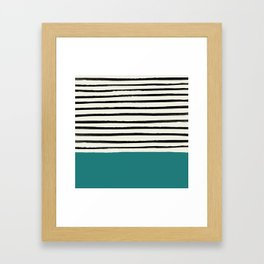 Teal x Stripes Framed Art Print