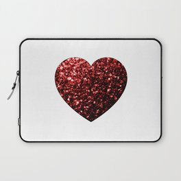 Red Glitter sparkles Heart on white Laptop Sleeve
