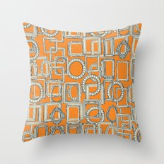 picture frames aplenty indigo tangerine Throw Pillow