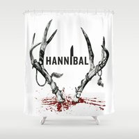 hannibal Shower Curtains featuring Hannibal  by lazergo