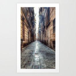 streets of barcelona Art Print