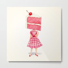 Cake Head Pin-Up - Cherry Metal Print