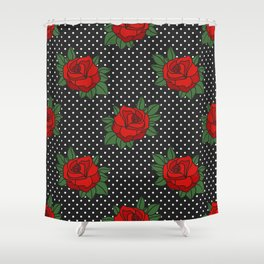 Rockabilly style roses on white polka dots pattern Shower Curtain