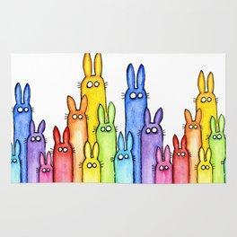 Animal Rainbow Bunnies Rabbit Watercolor Pattern Rug