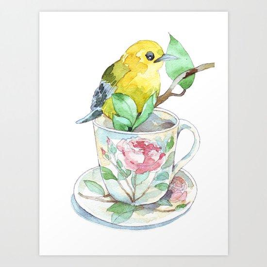 roses tea cup and a yellow bird Art Print