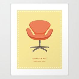 Mid-Century Swan Chair Art Print