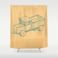 truck Shower Curtains featuring Wooden Truck by Mr and Mrs Quirynen