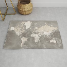Brown detailed world map with artistic ocean floor, Davey Rug