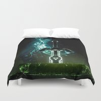hyrule Duvet Covers featuring Savior of Hyrule by qualitypunk