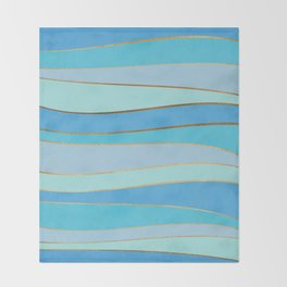 Waves Pattern - Golden Glitter Throw Blanket