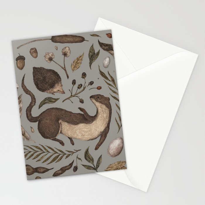 Weasel and Hedgehog Stationery Cards