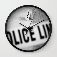 police Wall Clocks featuring Police Line by GF Fine Art Photography