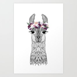 FLOWER GIRL ALPACA Art Print