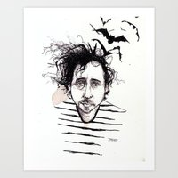 tim burton Art Prints featuring Tim Burton by Jess Rose