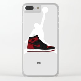 """Air Jordan 1 """"Black and Red"""" Clear iPhone Case"""