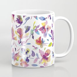 watery hibiscus flowers - Multicolored tropical pattern Coffee Mug