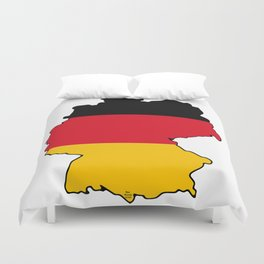 Germany Map with German Flag Duvet Cover