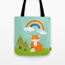 Fox, Rainbow , nursery decor , children gift, birthday gift Tote Bag