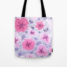 Pink Floral Graphic Watercolor Pattern Tote Bag