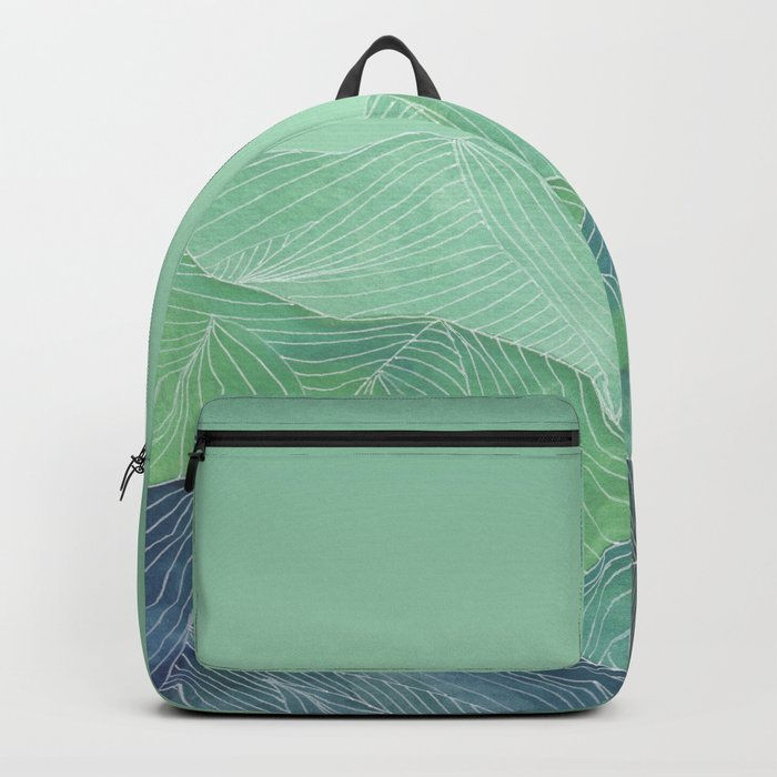 Lines in the mountains - green Backpack