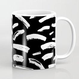 Foundry Abstract Brush Strokes White on Black Coffee Mug