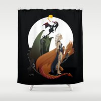 mother of dragons Shower Curtains featuring Mother of Dragons by LaPendeja