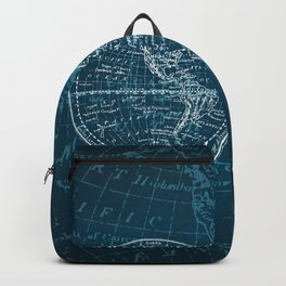 Antique Navigation World Map in Turquoise and White Backpack