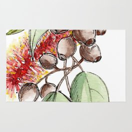 Floral Christmas Wreath, Illustration Rug