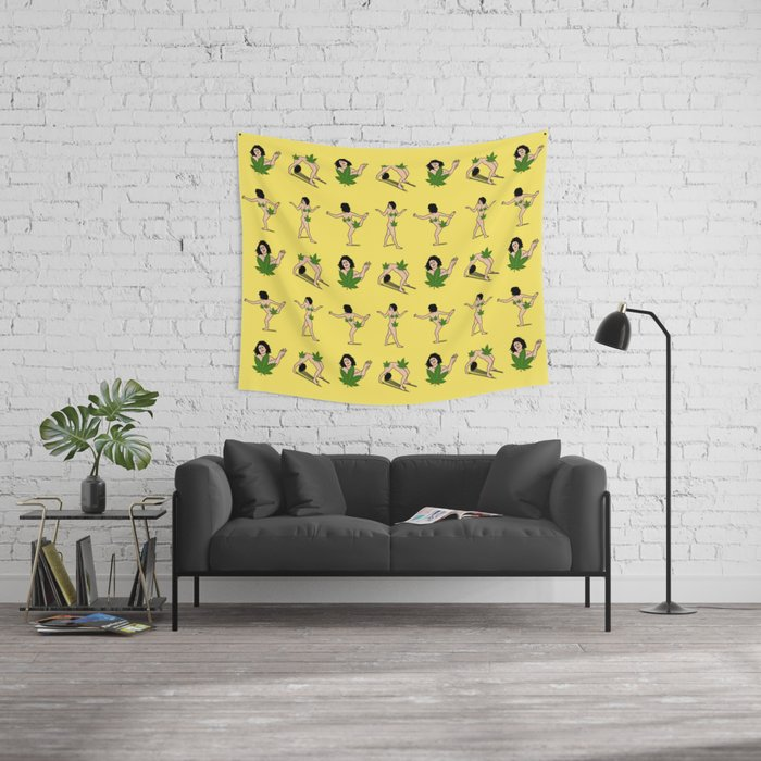 ART MODEL WEED Censorship (yellow pattern) Wall Tapestry by ...