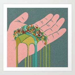 Our world running through the fingers Art Print