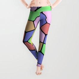Stained Glass Tortoise Shell - Geometric, pastel, hexagon patterned artwork Leggings