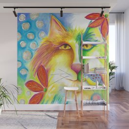 Cat abstract bird Original Painting Deb Harvey art Fevrier Chat  Wall Mural