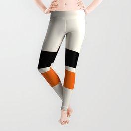 2 Stripes Black Orange Leggings