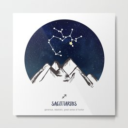 Astrology Sagittarius Zodiac Horoscope Constellation Star Sign Watercolor Poster Wall Art Metal Print