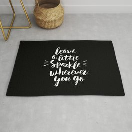 Leave a Little Sparkle Wherever You Go black-white contemporary typography poster home wall decor Rug