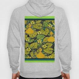Green Art Nouveau Vines Gourds Floral Teal Art Hoody