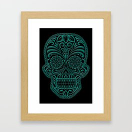 Intricate Teal Blue and Black Day of the Dead Sugar Skull Framed Art Print