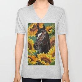 Horse with Sunflowers Unisex V-Neck